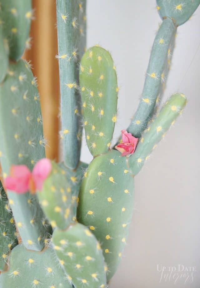 Faux Pear Cactus Decoration With Blooms