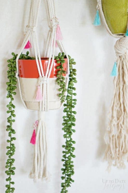 Macrame Plant Hangers Tassels Colorful