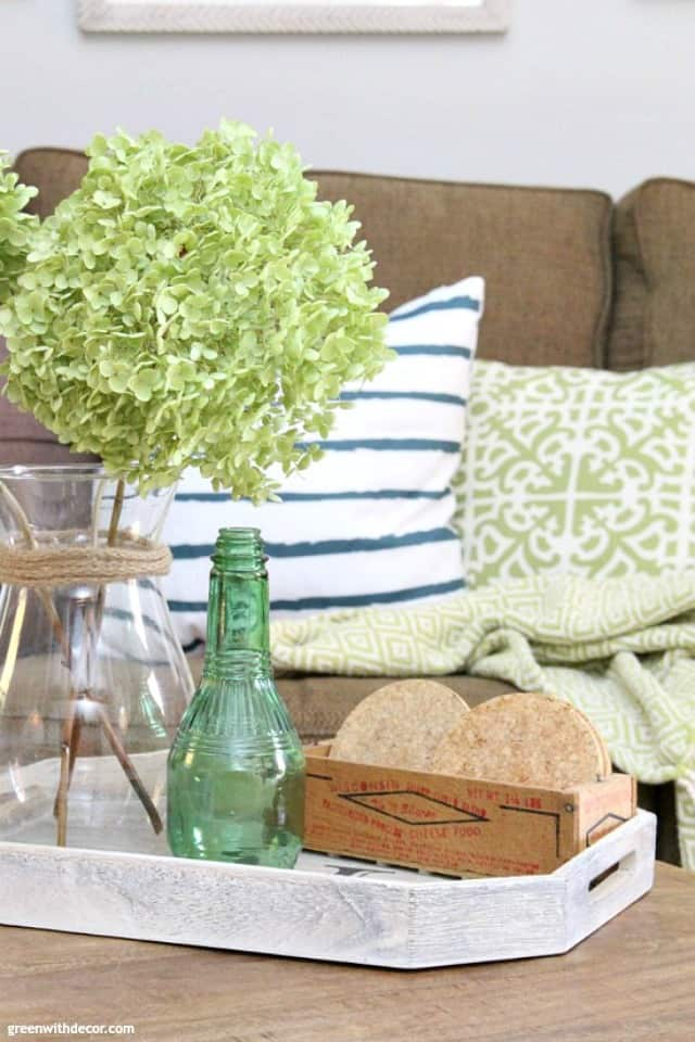 Coastal Rustic Living Room Coffee Table Tray Hydrangeas