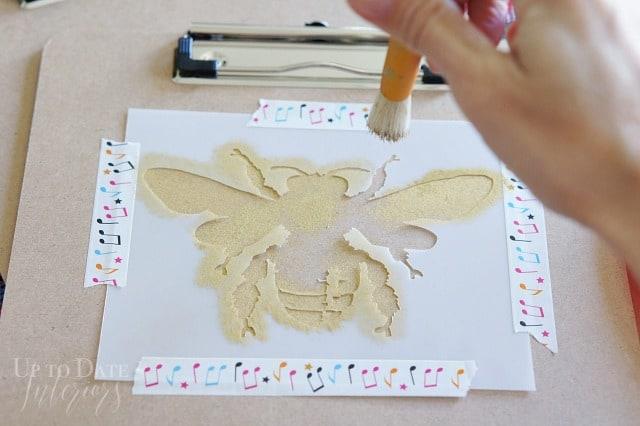 Bee Stencil Gold Clipboard Back To School
