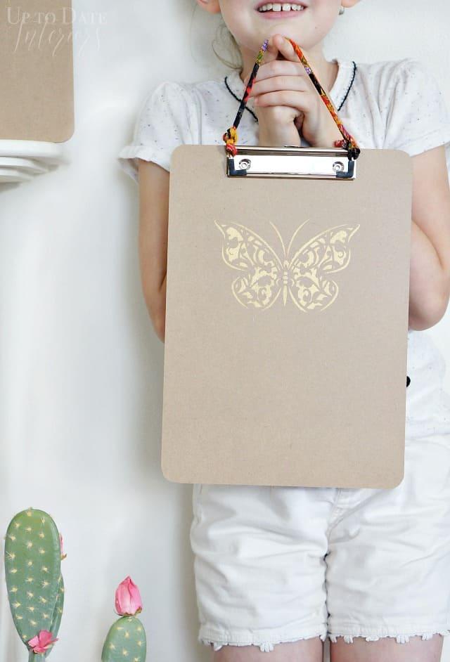 Butterfly Stenciled Back To School Clipboard