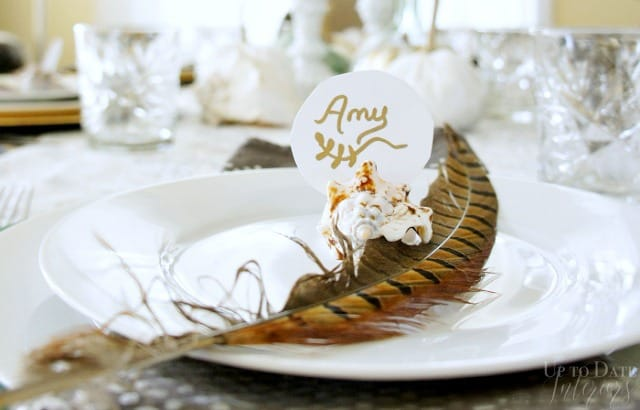 Seashell place card Holder with feather