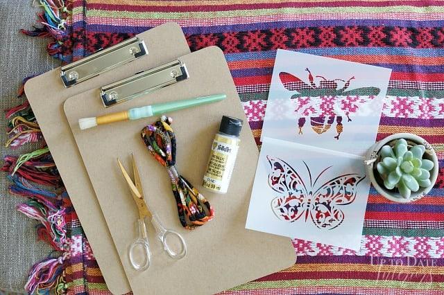 Supplies Boho Butterfly Bee Clipboard Dollar Store