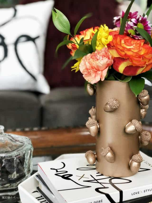 Diy Copper Acorn Vase Dollar Store Diy Fall Decor This Is Our Bliss