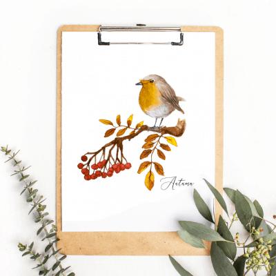 Autumn Bird Clipboard