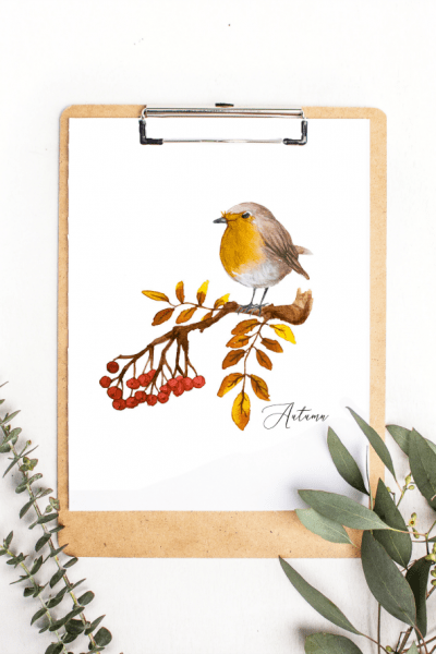 Watercolor Autumn Bird Printable Art and Monthly Updates