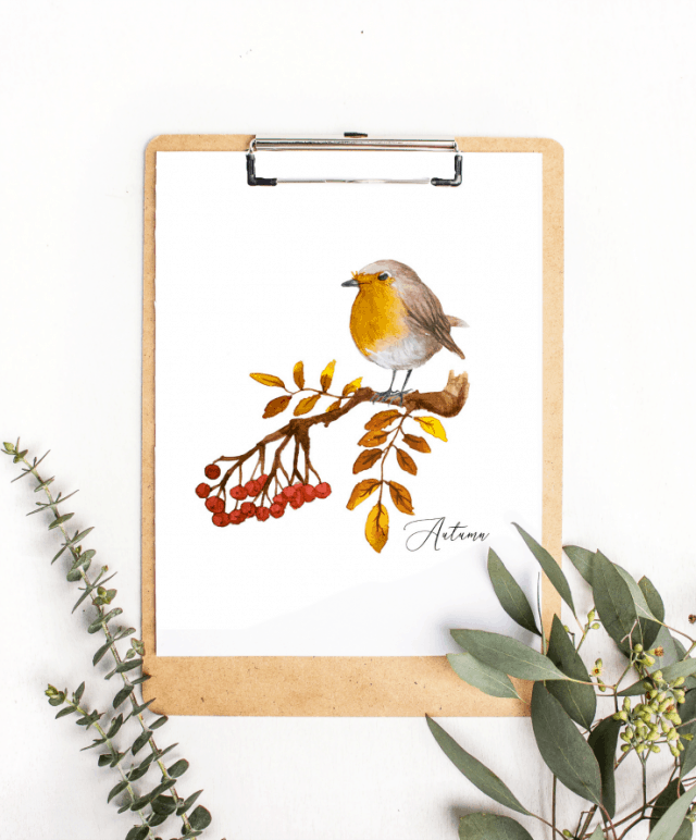 Autumn Bird Clipboard