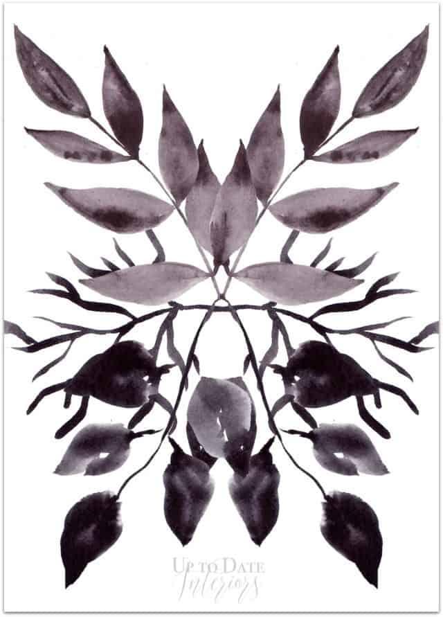 Leaf Blot Mirror Image Watermark Drop Shadow