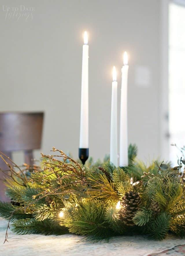 Centerpiece Candles Sticks Wreath