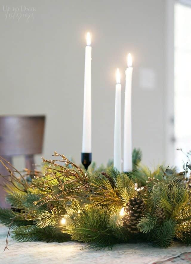 Centerpiece Candles Sticks Wreath