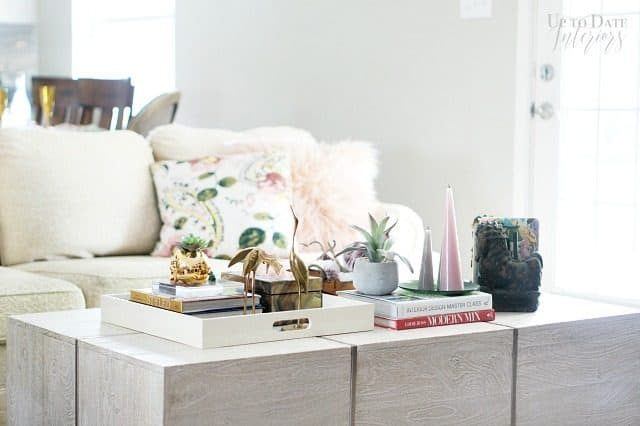 Coffee Table Styling Brass Pink