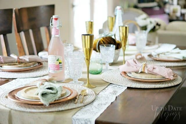 Fall Tablescape Brass Copper Pink