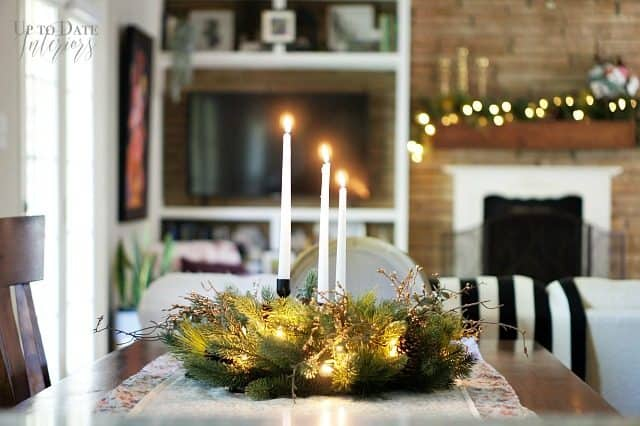 Wreath As Table Centerpiece With Candles