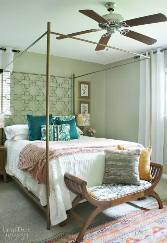 Bedroom Bed In Front Of Side Window