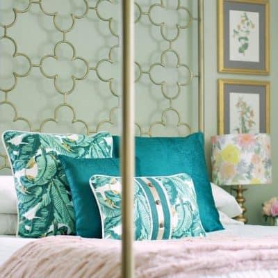 Boho Glam Bedroom With Dex Den Botanical Green Pillows