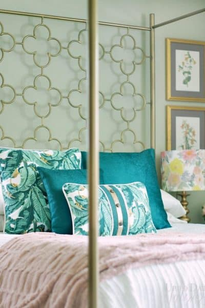 Boho Glam Bedroom With Dex Den Botanical Green Pillows