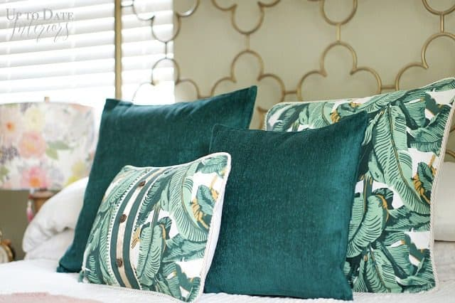 Botanical Pillows Green Walls Gold Bed