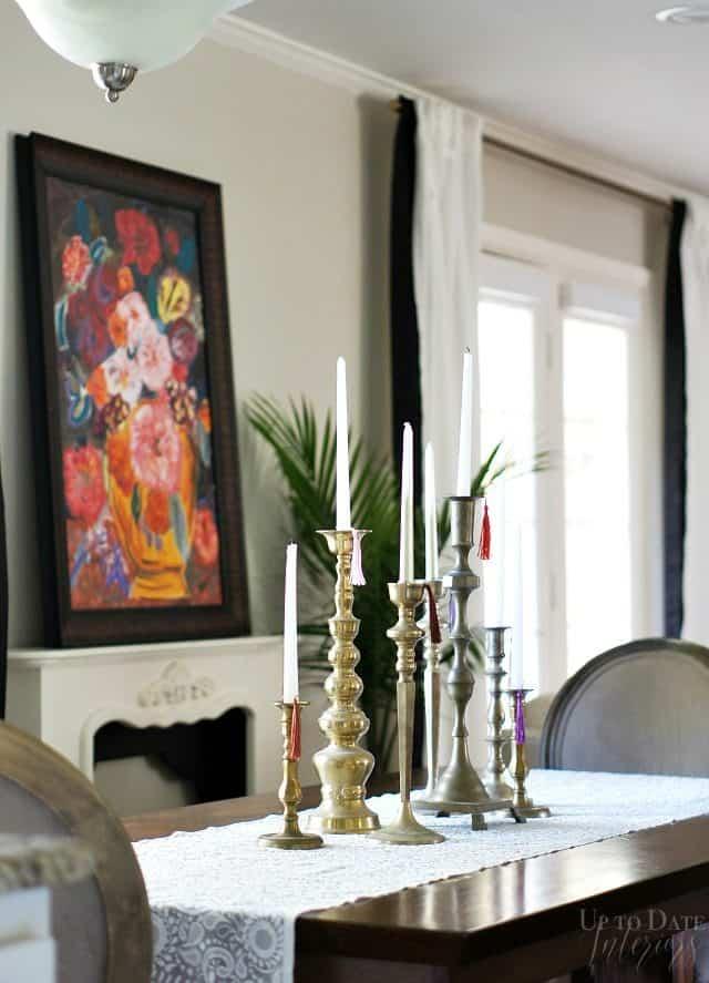 Brass Candlesticks Dining Table Centerpiece Boho Holiday