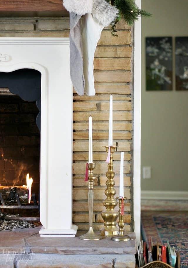 Brass Candlesticks Tassels Fireplace