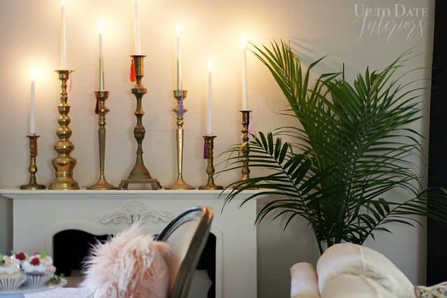 Brass Candlesticks Wide Lit