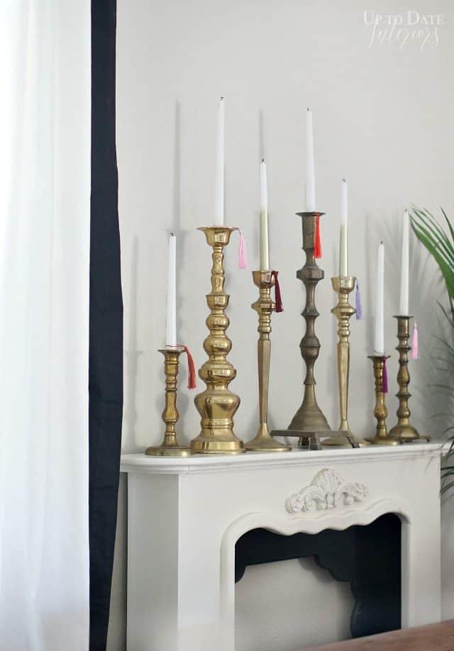 Candlesticks Tall Black White Mantel