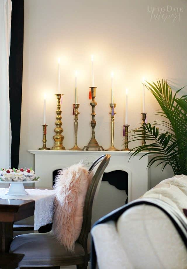 Colorful Candlesticks With Brass And Tassels