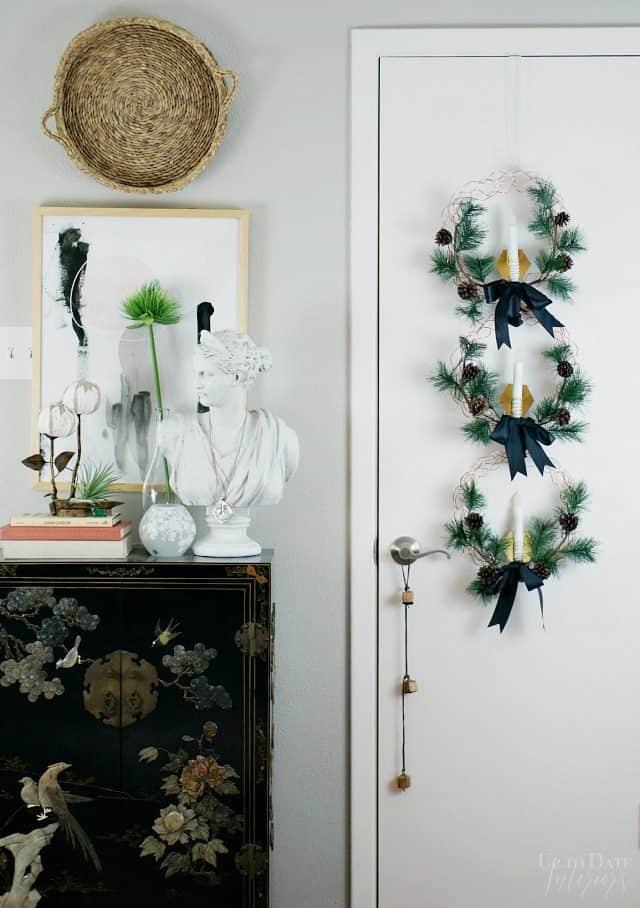 Door Hanging Three Copper Wreaths Candles