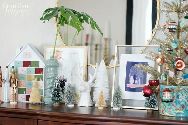 Eclectic And Colorful Christmas Shelf