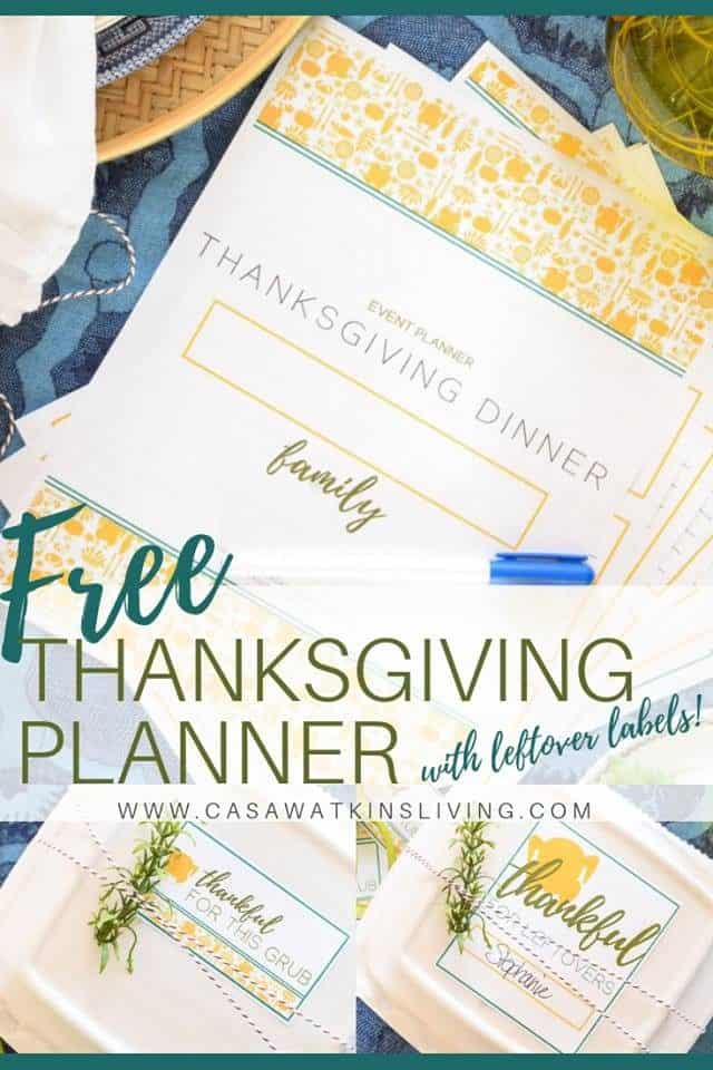 Free Modern Thanksgiving Planner With Leftover Labels