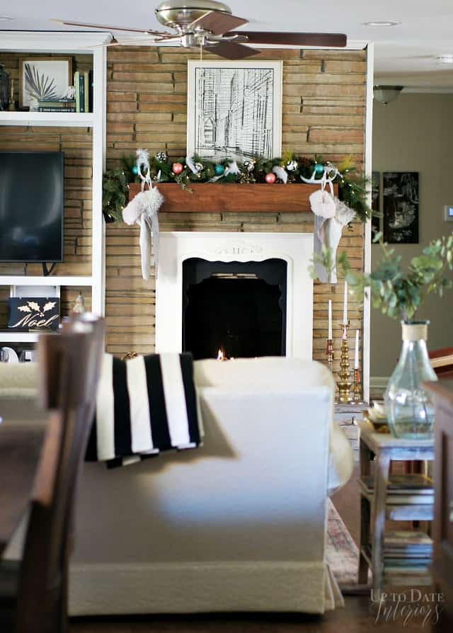 Living Room Fireplace Christmas Modern Eclectic