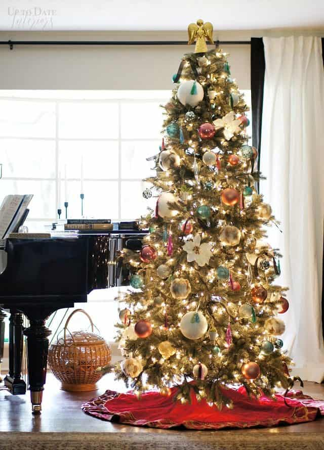 Modern Eclectic Elegant Christmas Tree Piano Window