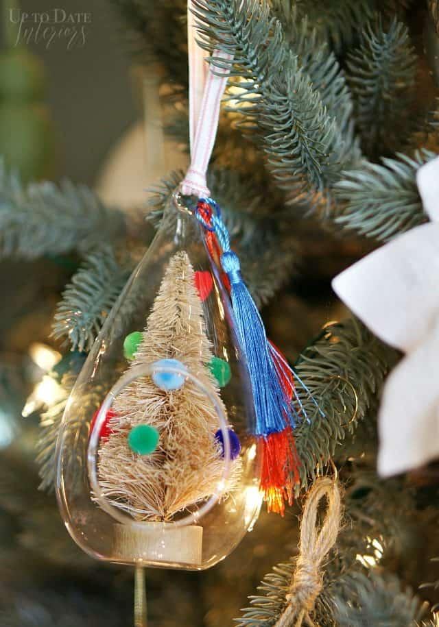 Pom Pom Bottle Brush Tree Glass Ornament