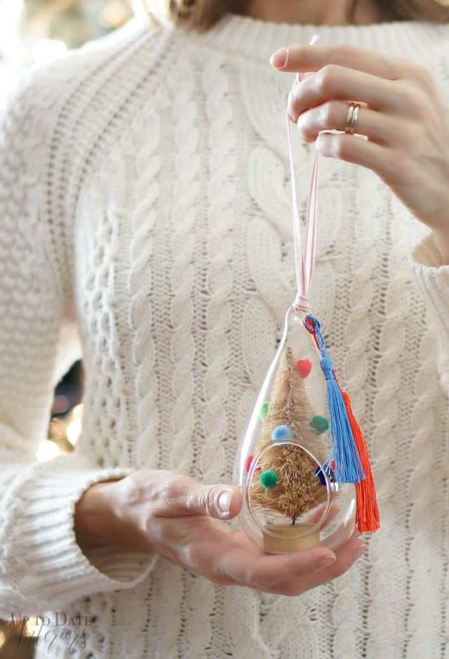 Pom Pom Tassel Tree Glass Terrarium Ornament