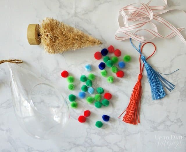 Supplies For Pom Pom Tassel Tree In Glass Terrarium