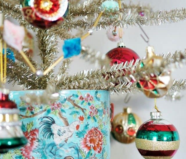 Vintage Ornaments Tinsel Tree Vintage Pot