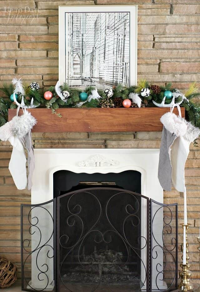 Christmas Fireplace Mantel Glam Eclectic Global