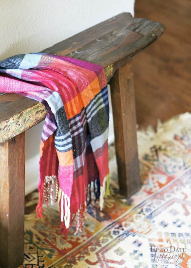 Christmas Foyer Scarf Wood Bench