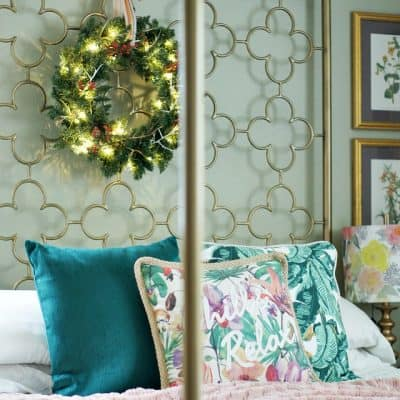 Christmas Wreath Bedroom Boho Glam