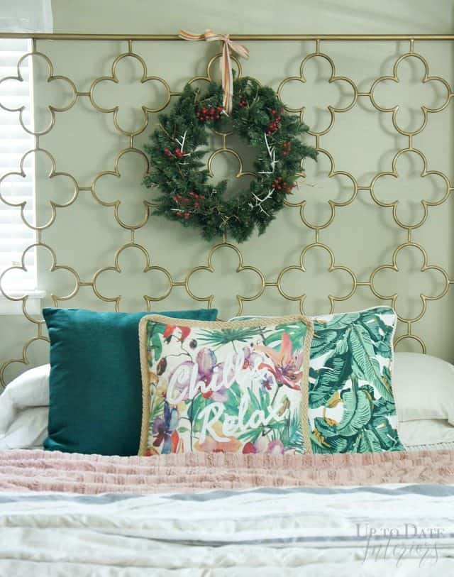 Christmas Wreath On Headboard