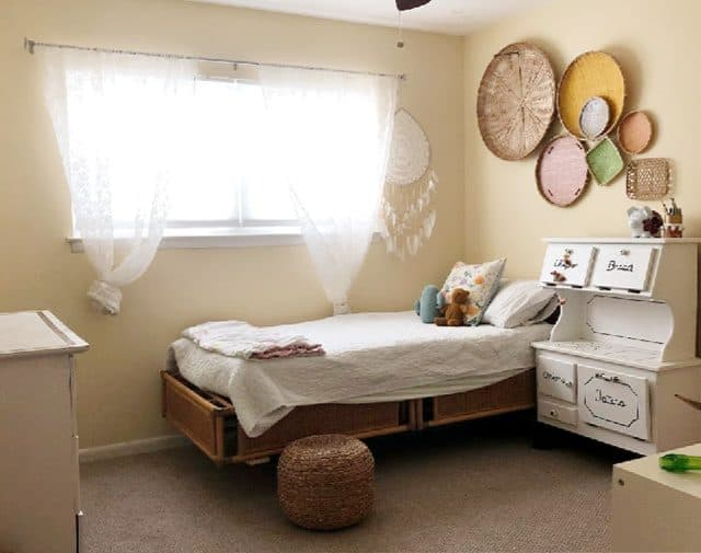 Girls Room makeover Eclectic Yellow Walls Wide