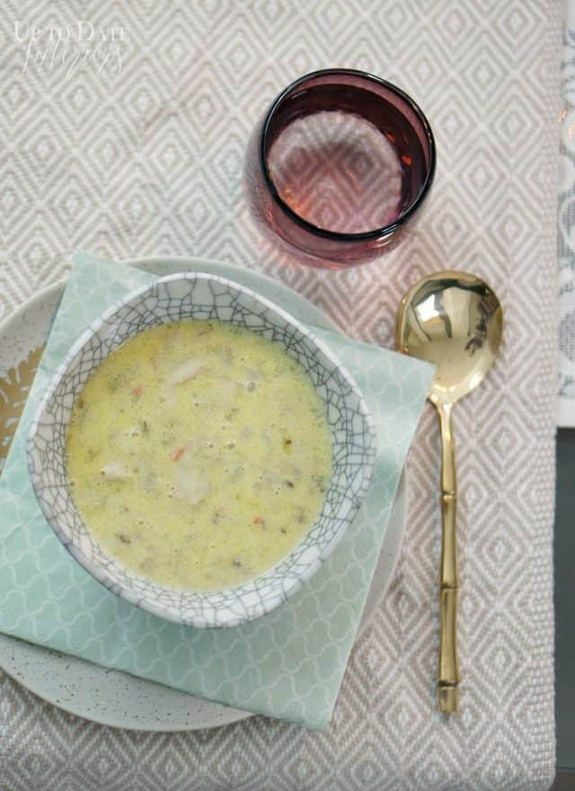 clam-chowder-in-a-bowl-gold-spoon-purple-glass