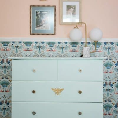Mint Dresser Bird Wallpaper Art Lamp