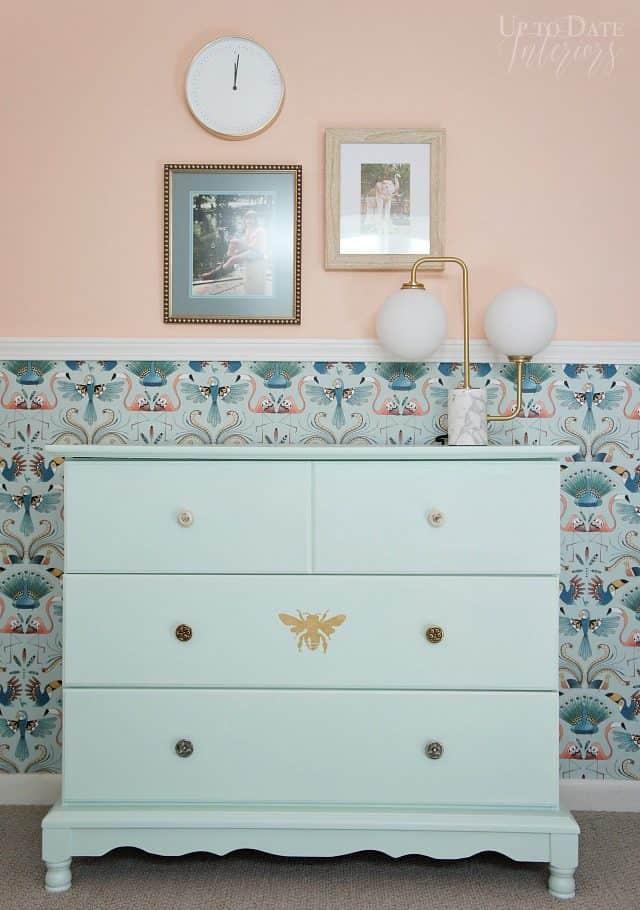 Mint Dresser Bird Wallpaper Art Lamp