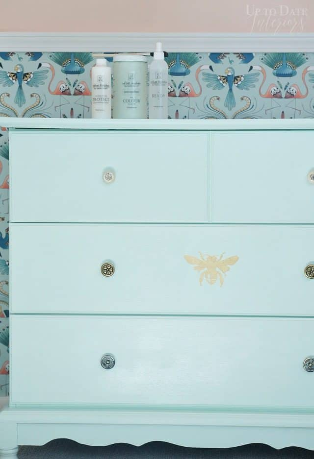 Mint Green Dresser With Gold