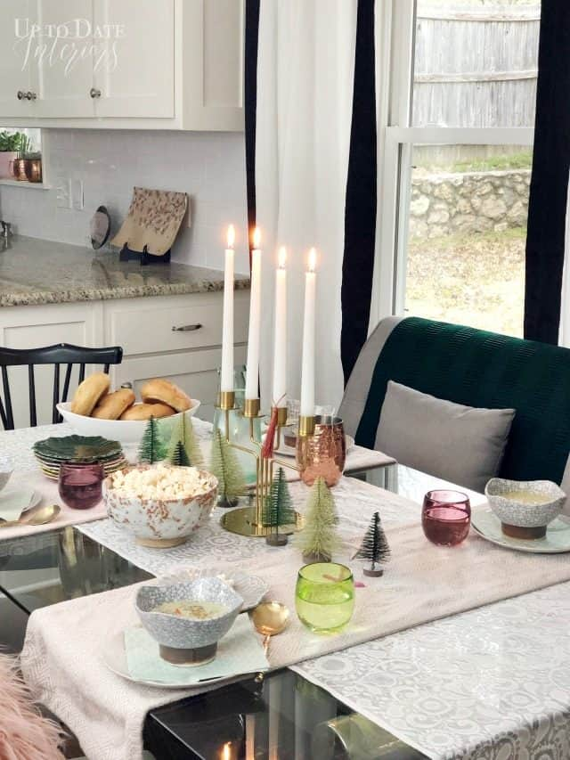 Winter Table Scape on glass dining table in white kitchen
