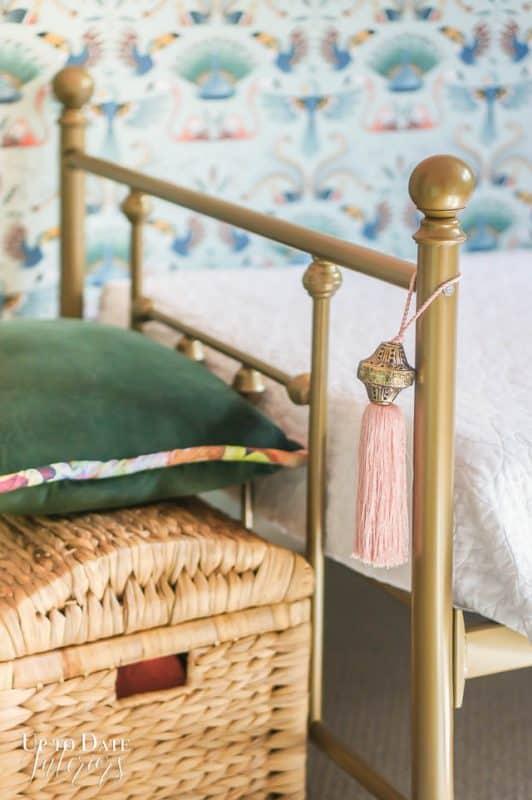 Basket Foot Of Bed Velvet Green Pillow Pink Tassel