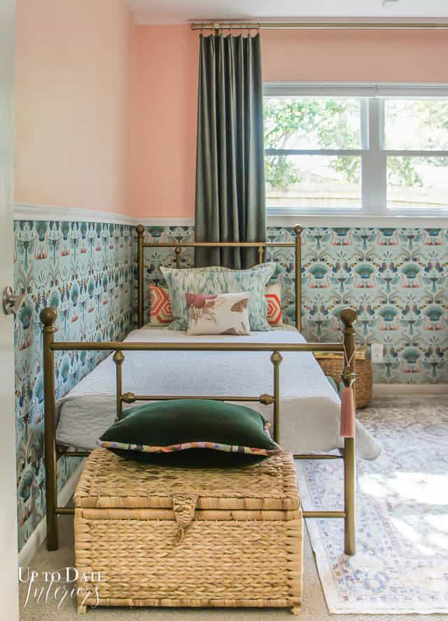 Boho Vintage Room Makeover Reveal With Wallpaper Gold Bed
