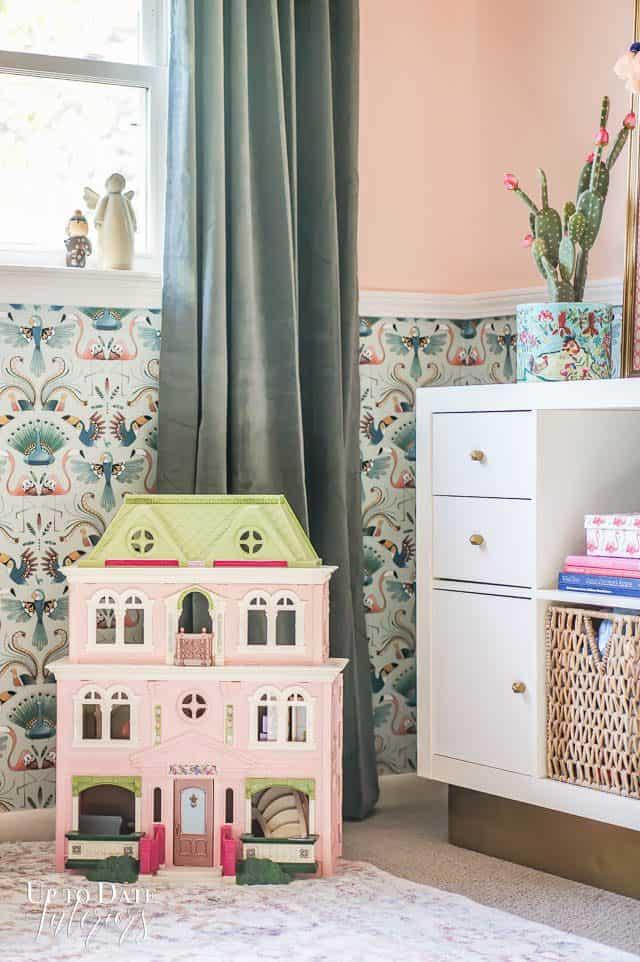 Dollhouse Vintage Boho Girls Bedroom makeover