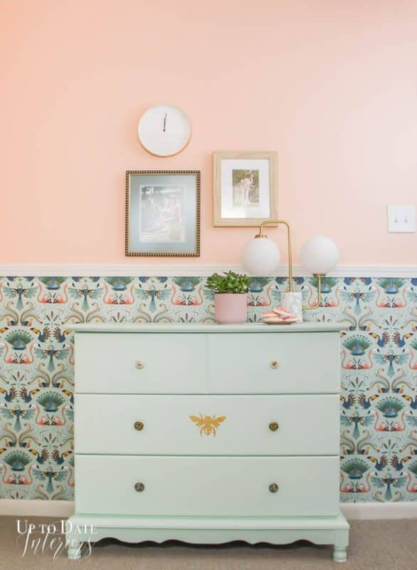 Dresser On Wall With Wallpaper And Chair Rail And Paint
