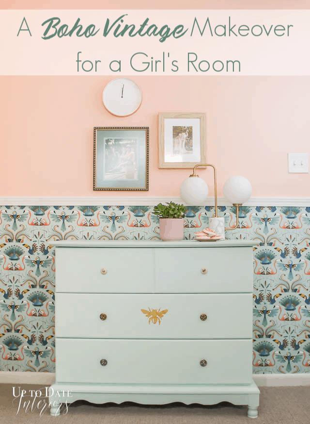 girl's room makeover: Dresser On Wall With Wallpaper And Chair Rail And Paint Pinterest